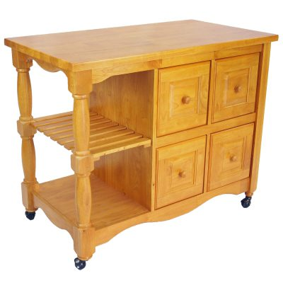 Regal kitchen cart on casters with light oak finish - three-quarter view - DCY-CRT-03-LO