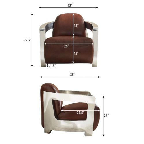 Milan Leather Collection - Armchair in brown with chrome arms - dimensions - SU-AX1902-A