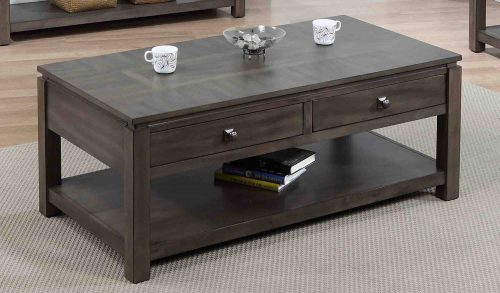 Shades of Gray Collection - Coffee table with drawers and shelf - living room setting DLU-EL1608