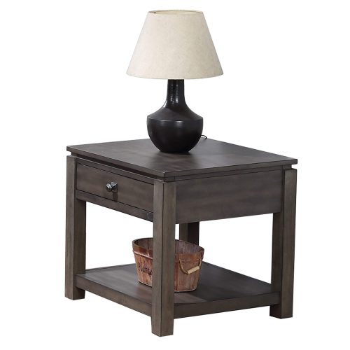Shades of Gray Collection - End table with drawer and shelf - three-quarter view DLU-EL1602