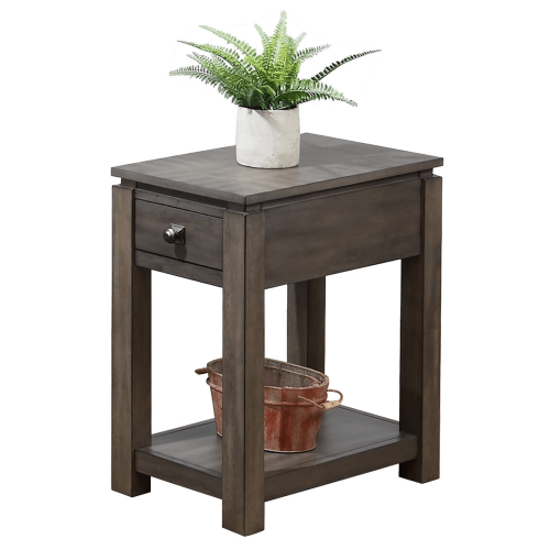 Shades of Gray Collection - Narrow End table with drawer and shelf - three-quarter view DLU-EL1603