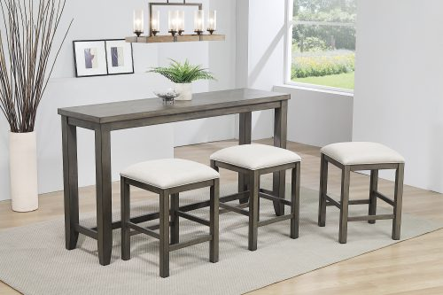 Shades of Gray Collection - Pub console tabl with tree stools - dining room setting - DLU-EL6518-4PC