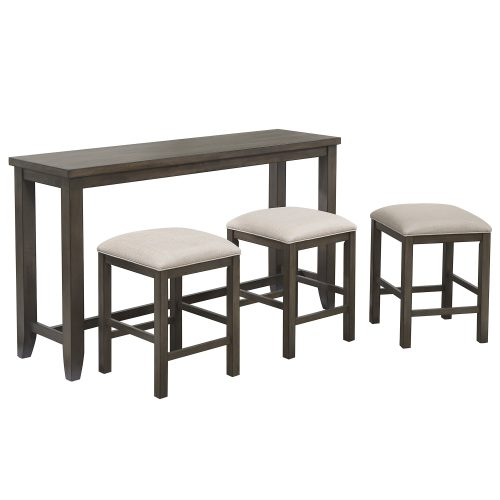 Shades of Gray Collection - Pub console tabl with tree stools - three-quarter view - DLU-EL6518-4PC
