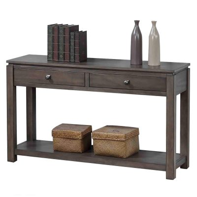 Shades of Gray Collection - Sofa console with drawers and shelf - angled view DLU-EL1602-04