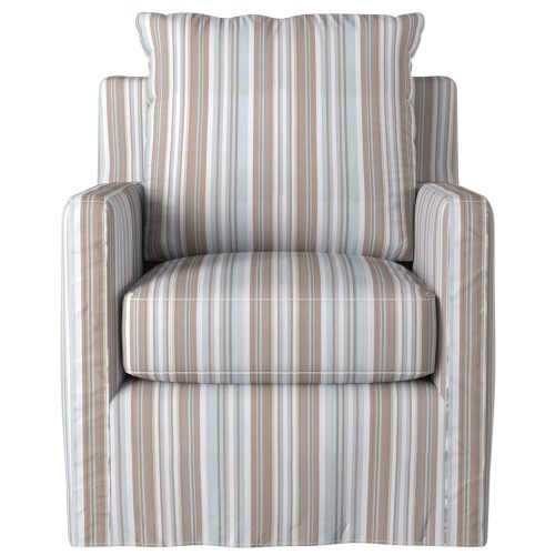 Slipcovered swivel chair with box cushion and track arm - front view in Seaside Blue Striped SU-159593-395225