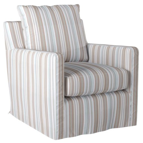Slipcovered swivel chair with box cushion and track arm - three-quarter view in Seaside Blue Striped SU-159593-395225