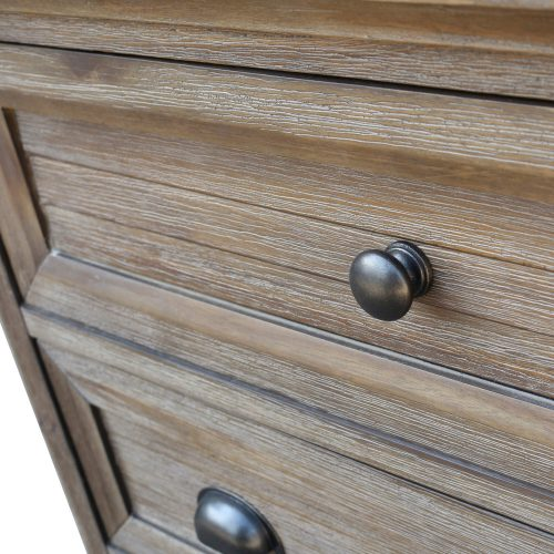 Solstice Gray Collection - Three drawer night table - Knob detail - CF-3036-0441