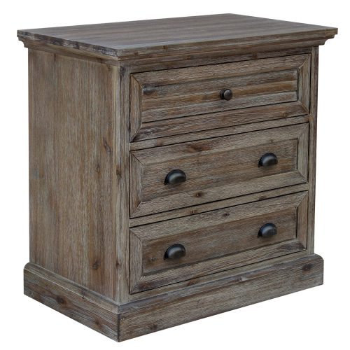 Solstice Gray Collection - Three drawer night table - Three-quarter view - CF-3036-0441