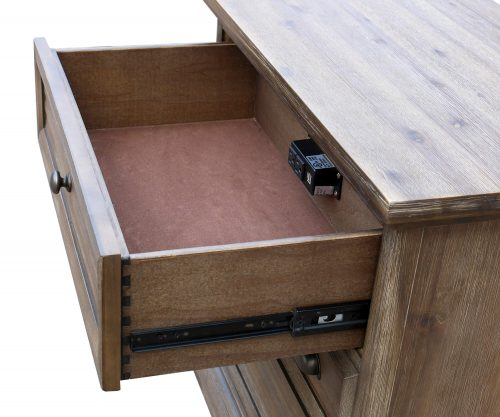 Solstice Gray Collection - Three drawer night table - Top drawer open - CF-3036-0441