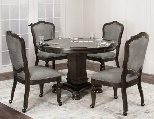 Vegas Collection 5 piece gaming table and chairs - set for poke in living room setting - CR-87711-TCP-5PC