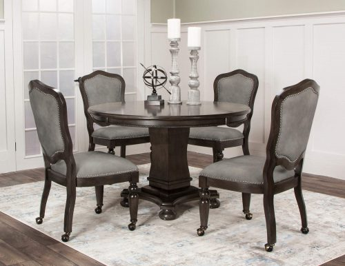 Vegas Collection 5 piece gaming table and chairs - table setting in living room setting - CR-87711-TCP-5PC