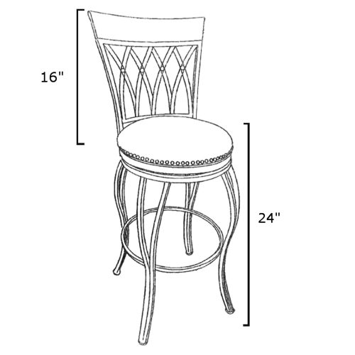 Victoria Dining Collection - Highback Swivel Barstool - schematic - CR-J3009-24-RTA