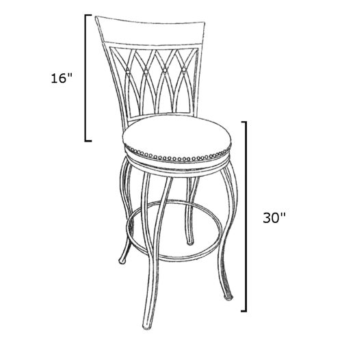 Victoria Dining Collection - Highback Swivel Barstool - schematic - CR-J3009-30-RTA