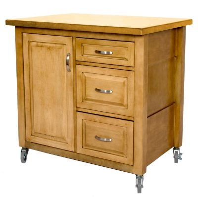 Kitchen Cart with casters in light oak - three-quarter view - PK-CRT-04-LO