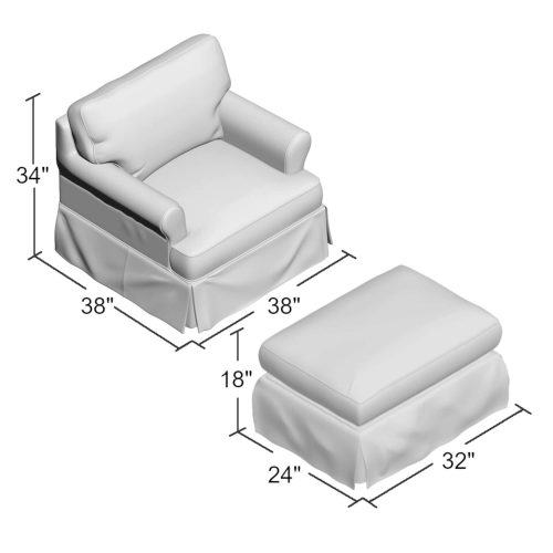 American Slipcover Collection - Chair and Ottoman dimensions