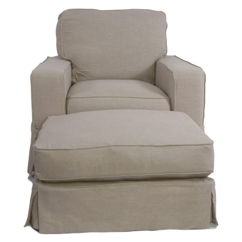 American Slipcover Collection - Chair and Ottoman front view SU-108520-30-220591