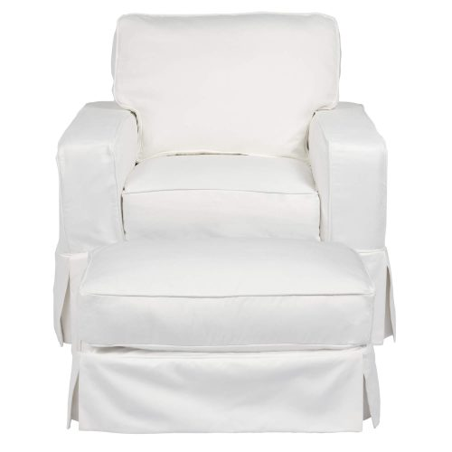 Americana Slipcover Collection - Chair and Ottoman front view SU-108520-30-391081