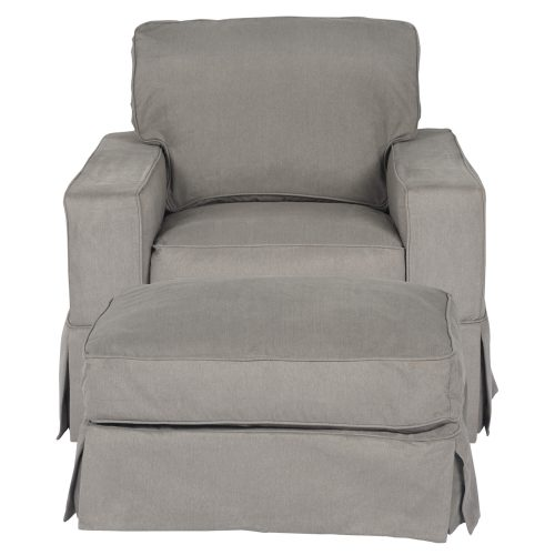 Americana Slipcover Collection - Chair and Ottoman front view SU-108520-30-391094