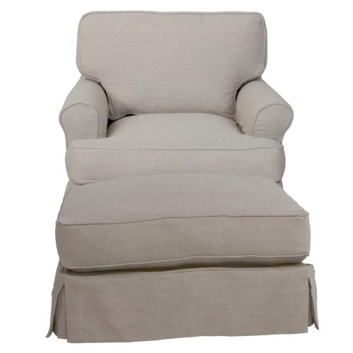 American Slipcover Collection - Chair and Ottoman front view SU-117620-30-220591