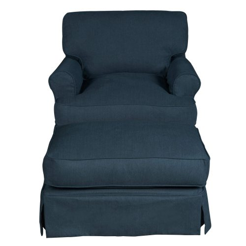 American Slipcover Collection - Chair and Ottoman front view SU-117620-30-391049