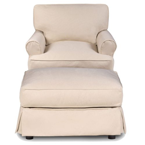 Horizon Slipcover Collection - Chair and Ottoman front view SU-117620-30-391084