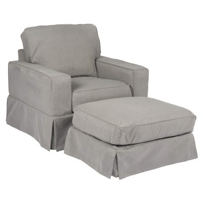 Americana Slipcover Collection - Chair and Ottoman three-quarter view SU-108520-30-391094
