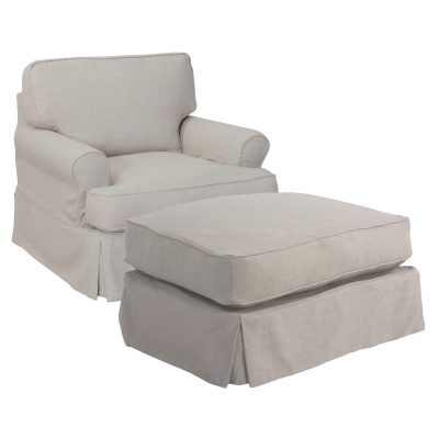 American Slipcover Collection - Chair and Ottoman three-quarter view SU-117620-30-220591