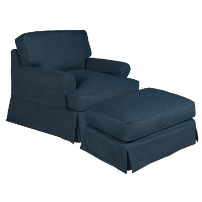 Horizon Slipcover Collection - Chair and Ottoman three-quarter view SU-117620-30-391049