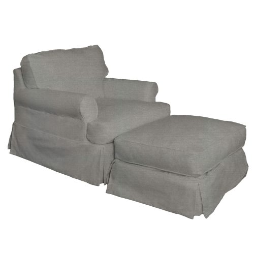 Horizon Slipcover Collection - Chair and Ottoman three-quarter view SU-117620-30-391094
