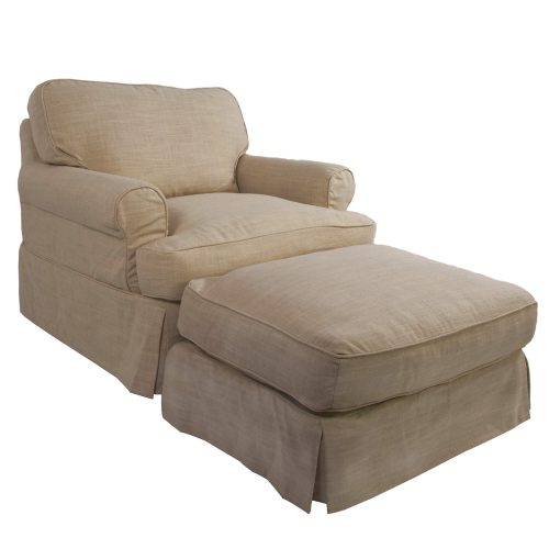 Horizon Slipcover Collection - Chair and Ottoman three-quarter view SU-117620-30-466082
