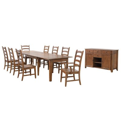 Amish Dining - 10-piece dining set - Rectangular extendable dining table with two armchairs and six dining chairs and server DLU-BR134-AMSB10PC
