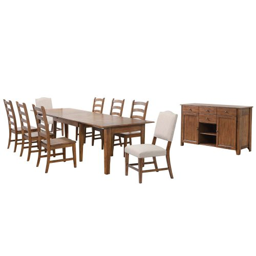 Amish Dining - 10-piece dining set - Rectangular extendable dining table with two upholstered chairs and six dining chairs and server DLU-BR134-C85AMSB10P