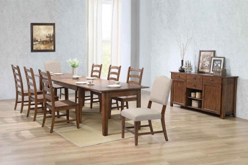 Amish Dining - 10-piece dining set - Rectangular extendable dining table with two upholstered chairs and six dining chairs and server - dining room setting DLU-BR134-C85AMSB10P