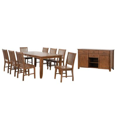 Amish Dining - 10-piece dining set - extendable dining table and eight slat back chairs and server DLU-BR4272-C60-AMSB10PC