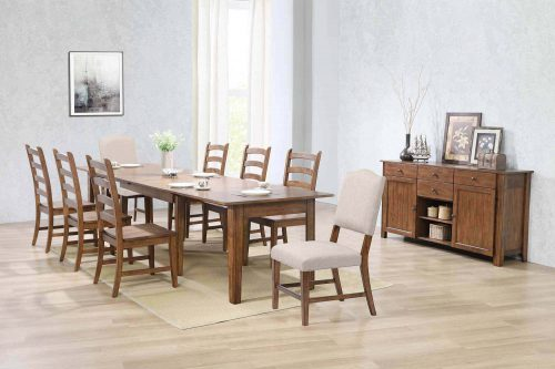 Amish Dining - 10-piece dining set - extendable table - dining chairs - upholstered dining chair - server DLU-BR-C85
