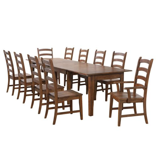 Amish Dining - 11-piece dining set - Rectangular extendable dining table with two armchairs and eight dining chairs DLU-BR134-AM11PC