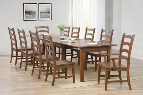 Amish Dining - 11-piece dining set - Rectangular extendable dining table with two armchairs and eight dining chairs - dining room setting DLU-BR134-AM11PC