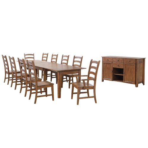 Amish Dining - 12-piece dining set - Rectangular extendable dining table with two armchairs and eight dining chairs and server DLU-BR134-AMSB12PC