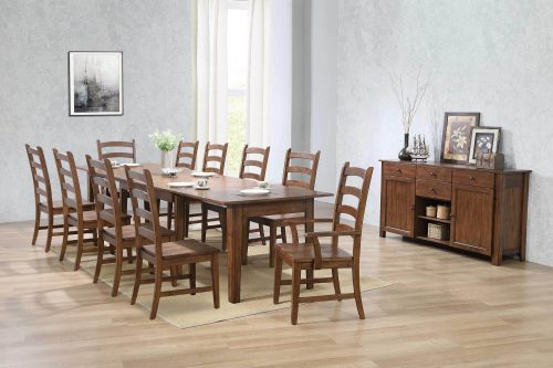 Amish Dining - 12-piece dining set - Rectangular extendable dining table with two armchairs and eight dining chairs and server - dining room setting DLU-BR134-AMSB12PC