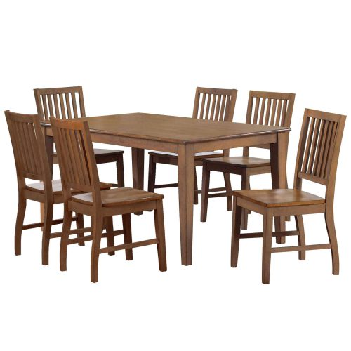 Amish Dining - 7-piece dining set - Rectangular extendable dining table and six dining chairs DLU-BR3660-C60-AM7PC