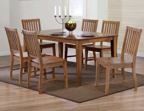 Amish Dining - 7-piece dining set - Rectangular extendable dining table and six dining chairs dining room setting DLU-BR3660-C60-AM7PC