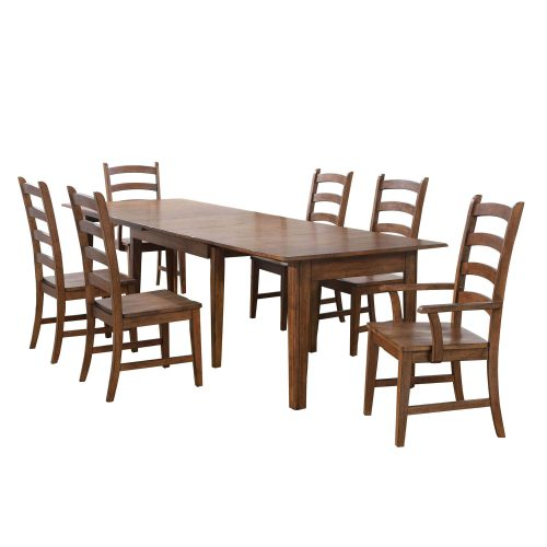 Amish Dining - 7-piece dining set - Rectangular extendable dining table with two armchairs and four dining chairs DLU-BR134-AM7PC