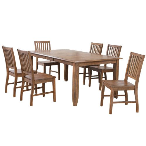 Amish Dining - 7-piece dining set - extendable dining table and six slat back chairs DLU-BR4272-C60-AM7PC