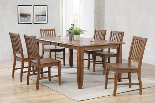 Amish Dining - 7-piece dining set - extendable dining table and six slat back chairs - dining room setting DLU-BR4272-C60-AM7PC