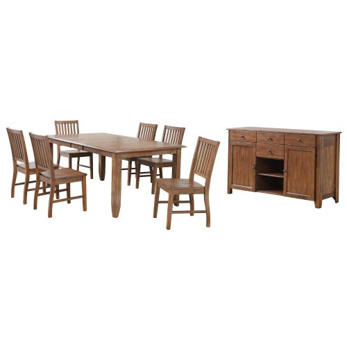 Amish Dining - 8-piece dining set - extendable dining table and six slat back chairs and server DLU-BR4272-C60-AMSB8PC