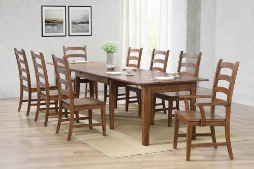 Amish Dining - 9-piece dining set - Rectangular extendable dining table with two armchairs and six dining chairs - dining room setting DLU-BR134-AM9PC
