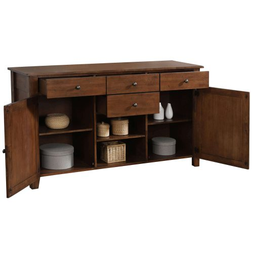 Amish Dining Collection - Sideboard server in dark-Oak finish three-quarter view with doors and drawers open DLU-BR-SB-AM