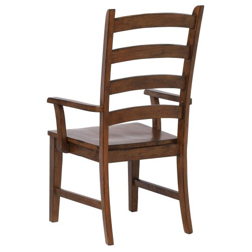 Amish Dining - Ladder back dining armchair finished in chestnut - angled back view DLU-BR-C80A-AM-2