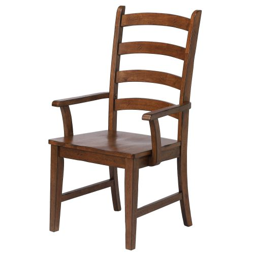 Amish Dining - Ladder back dining armchair finished in chestnut - angled front view DLU-BR-C80A-AM-2