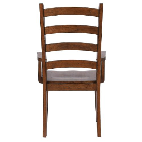Amish Dining - Ladder back dining armchair finished in chestnut - back view DLU-BR-C80A-AM-2